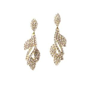 Tigerstars Gold Crystal Leaf Dangle Earrings